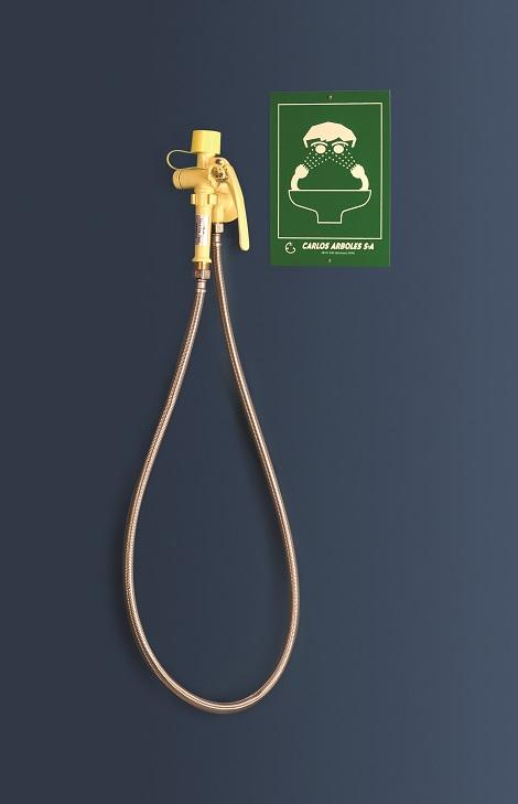 žltá nástenná laboratórna očná sprcha ručná CA3100 bez výlevky - havarijná sprcha