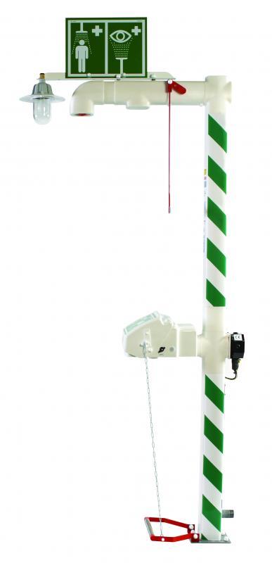 Vyhrievaná exteriérová havarijná sprcha pre celkový oplach kombinovaná s očnou sprchou