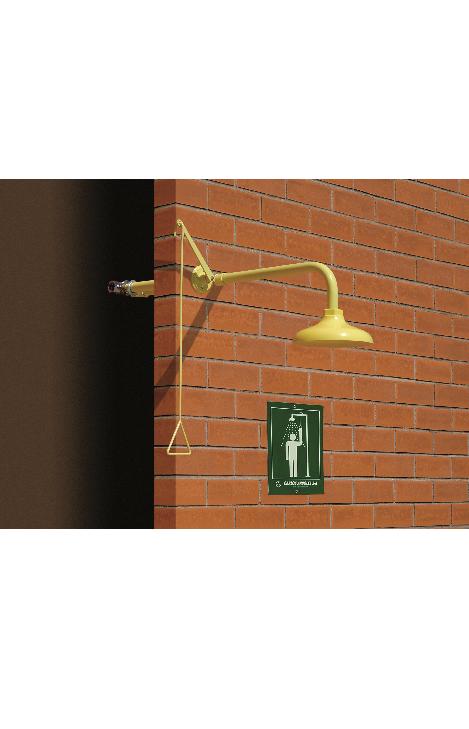 Exteriérová celková bezpečnostná sprcha celotelová CA1110FP do steny na tehlovom podklade