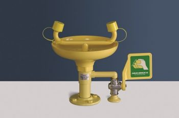 žltá stolová laboratórna očná sprcha CA2212 s ABS plast výlevkou a pákou - havarijná sprcha