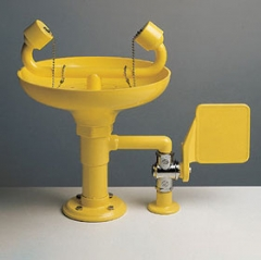 žltá stolová laboratórna havarijná očná sprcha CA2212 s ABS plast výlevkou a pákou