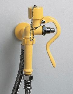 žltá nástenná laboratórna havarijná očná sprcha ručná CA3100 bez výlevky