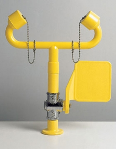 žltá stolová laboratórna očná sprcha CA3500 havarijná bez výlevky s pákou