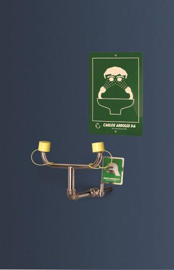nerezová nástenná laboratórna očná sprcha CA3510TI bez výlevky s pákou a žltými čiapočkami - havarijná sprcha