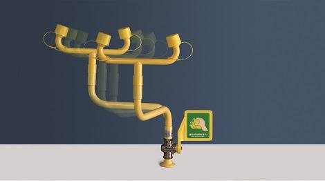 pohyblivá žltá stolová laboratórna očná sprcha CA3610 bez výlevky s pákou - havarijná sprcha