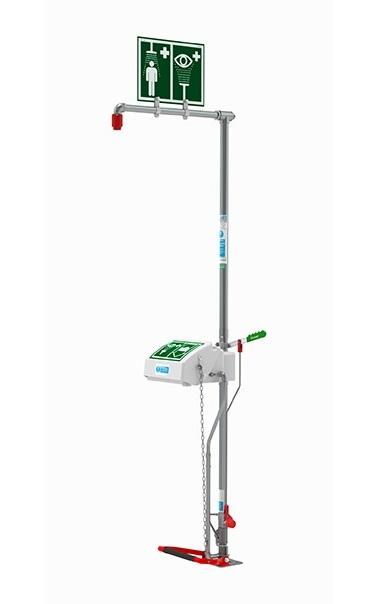 nerezová exteriérová kombinovaná havarijná bezpečnostná sprcha s fontánou pre oplach očí/tváre