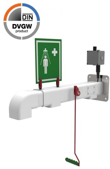 Exteriérová nástenná bezpečnostná sprcha pre celkový oplach
