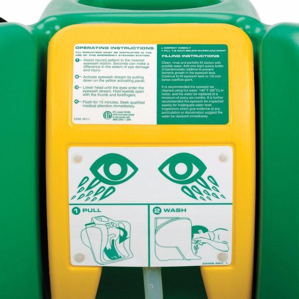 Detail zatvorenej prenosnej očnej bezpečnostnej sprchy G1540