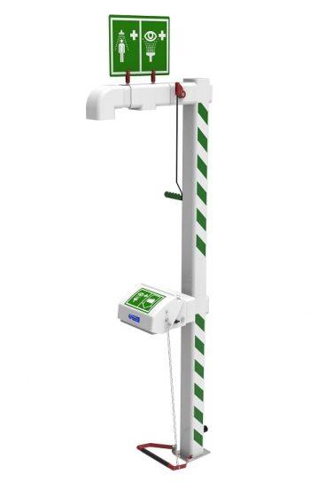 Vyhrievaná exteriérová bezpečnostná sprcha pre celkový oplach kombinovaná s očnou sprchou