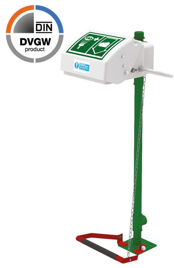 Bezpečnostná očná sprcha s otvárateľným poklopom a nalepeným piktogramom, na zelenom podstavci s pedálom