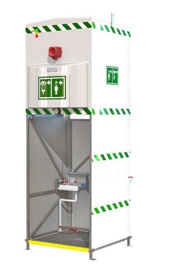 Exteriérová havarijná sprcha so zásobníkom pre celkový oplach kombinovaná s očnou sprchou s nášľapným ovládaním a signalizačnými prvkami