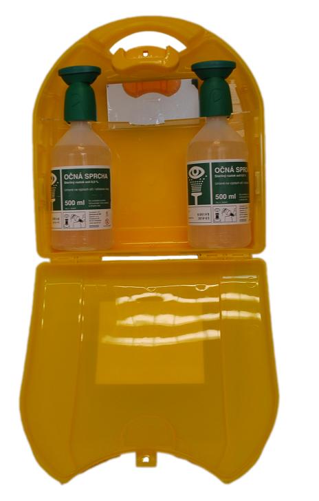 Sapem Safety Eyewash Kit - žltý nástenný kufrík otvorený s očnými vodami a zrkadielkom