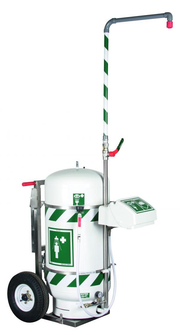 Kombinovaná mobilná bezpečnostná sprcha 114l zásobník vody na kolesách
