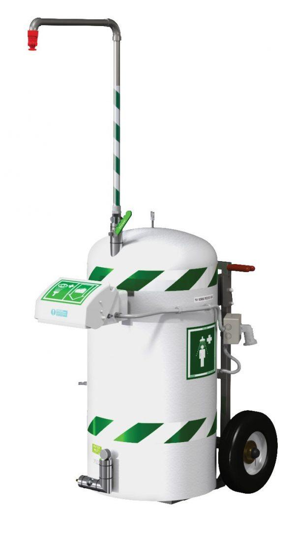 kombinovaná mobilná bezpečnostná sprcha 114l zásobník vody a očnou sprchou