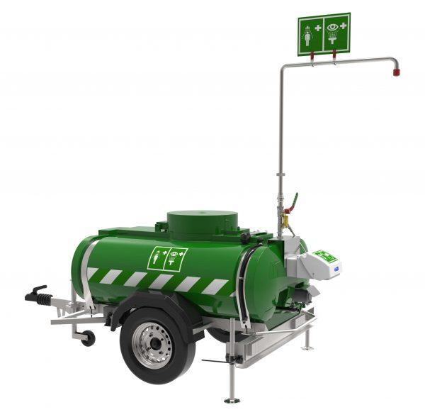 Zelená mobilná zásobníková sprcha Hughes std-mh-p s očnou a celkovou sprchou na kolesách