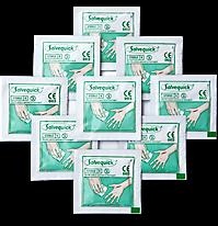 9 obrúskov na dezinfekciu rán usporiadaných do kosoštvorca