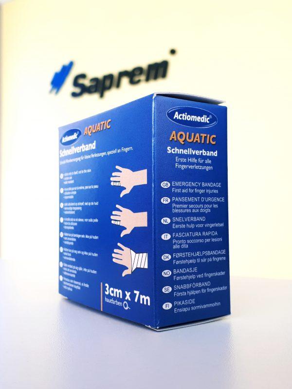 krabička zobrazujúca možné spôsoby použitia samodržiacej bandáže pod logom Saprem